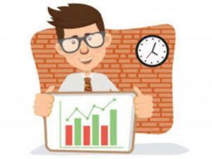 cartoon-of-man-holding-index-graph-clock-on-wall