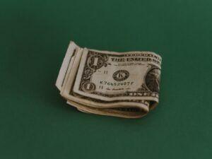 folded dollar bills