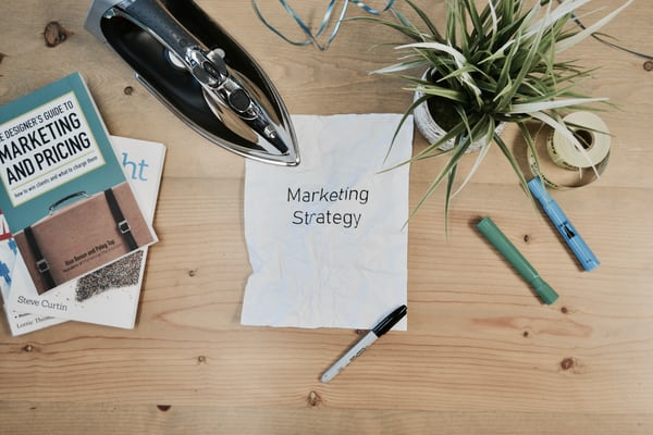 desk with marketing strategy note